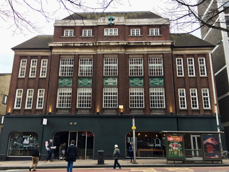 Striking Art Deco facade of Green Rooms originally the North Met Electric Power Supply building, Wood Green